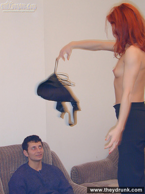 Drunk sexy redhead strips for her guy and takes his cock in her sweet hungry pussy - XXXonXXX - Pic 6