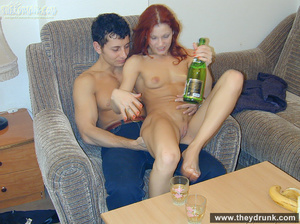 Drunk sexy redhead strips for her guy and takes his cock in her sweet hungry pussy - XXXonXXX - Pic 13