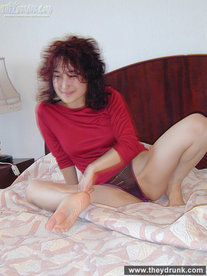 Smiling young brunette undresses and gets her boy's cock in missionary position - XXXonXXX - Pic 5