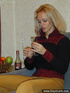 Tipsy blond takes off her pullover trousers and…