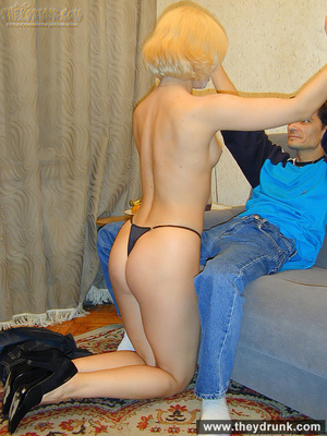 Pretty blond is shameless to strip while her guy watching and proudly shows her shaved pussy - XXXonXXX - Pic 13