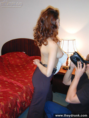 Young sexy redhead wife stripping and posing in front of her husband - XXXonXXX - Pic 7