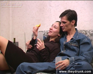 Tattooed tipsy brunette pampered by her boy - XXXonXXX - Pic 1