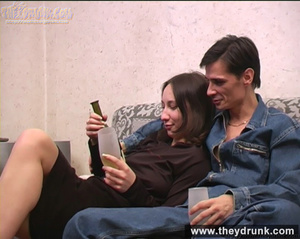 Tattooed tipsy brunette pampered by her boy - XXXonXXX - Pic 2