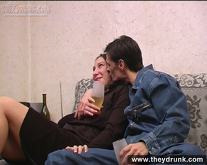 Tattooed tipsy brunette pampered by her boy - XXXonXXX - Pic 4