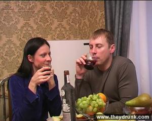Flirty drunken brunette eats banana then gets a big cock in her mouth and ass - XXXonXXX - Pic 1