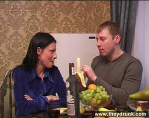 Flirty drunken brunette eats banana then gets a big cock in her mouth and ass - XXXonXXX - Pic 2