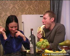 Flirty drunken brunette eats banana then gets a big cock in her mouth and ass - XXXonXXX - Pic 3