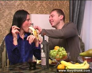 Flirty drunken brunette eats banana then gets a big cock in her mouth and ass - XXXonXXX - Pic 5