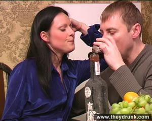 Flirty drunken brunette eats banana then gets a big cock in her mouth and ass - XXXonXXX - Pic 6