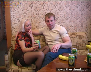 Long legged drunken blond in sexy stokings sucks then gets licked and fucked - XXXonXXX - Pic 1