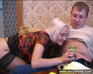 Long legged drunken blond in sexy stokings sucks then gets licked and fucked - XXXonXXX - Pic 7