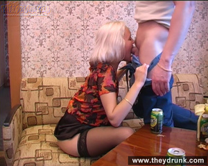 Long legged drunken blond in sexy stokings sucks then gets licked and fucked - XXXonXXX - Pic 10