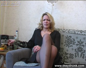 Lonely blond milf relaxing with alcohol then getting naked and playing with her hot pussy - XXXonXXX - Pic 2
