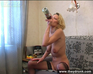 Lonely blond milf relaxing with alcohol then getting naked and playing with her hot pussy - XXXonXXX - Pic 13