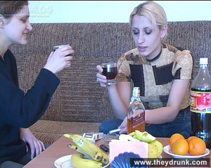 When the drink is enough these two young cute teens posing and playing hot lesbian game - XXXonXXX - Pic 1