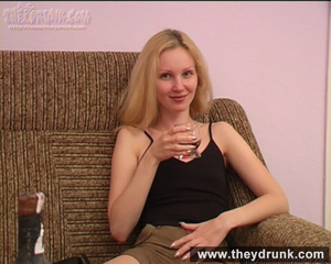 Blond teen wearing black top and short skirt gets drunk and horny enough to get nude - XXXonXXX - Pic 6