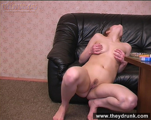 Tipsy brunette shows off her exciting body and masturbating on the leather settee - XXXonXXX - Pic 11