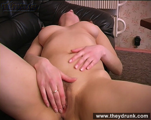 Tipsy brunette shows off her exciting body and masturbating on the leather settee - XXXonXXX - Pic 15