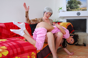 Strict mom punishes bad girl with spanking and drives her into hot lesbian sex - XXXonXXX - Pic 6
