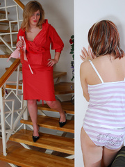 Hot blond mom in red buys a new dildo and tries it - XXXonXXX - Pic 1