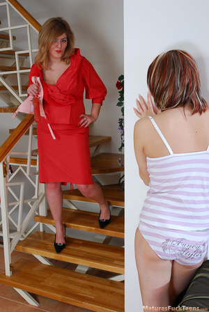 Hot blond mom in red buys a new dildo and tries it with daughter - XXXonXXX - Pic 1