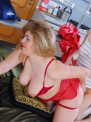 Hot blond mom in red buys a new dildo and tries it - XXXonXXX - Pic 15