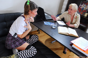 Lesbian mature boss seduces teen employee in her office - XXXonXXX - Pic 1
