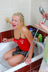 Lesbian pleasures in the bathtub with dildo and…