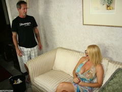 Sexy MILF wanks the repairman as payment gets - XXXonXXX - Pic 1