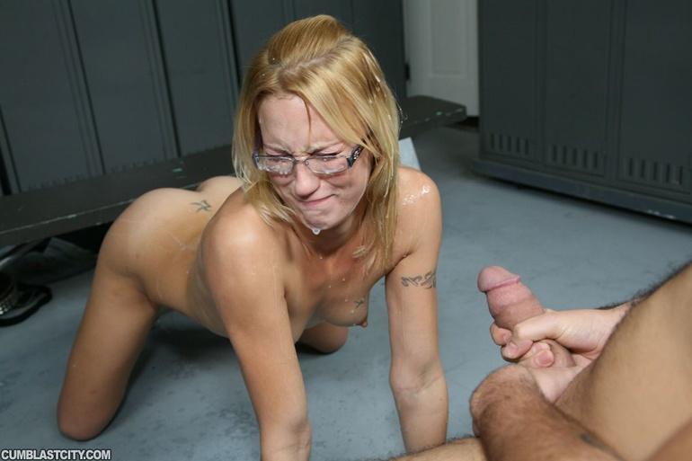 image Blonde nerd give a blowjob and fuck