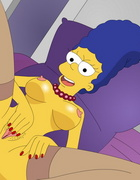 Slutty cartoon wife marge Simpson in tight stay ups rubs her pussy while
