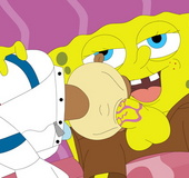 Lusty SpongeBob pulls down his pants just to be sucked dry by Sandy Cheeks.