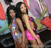 Black beauties on a threesome blowjob and hard sex