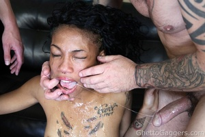 A black temptress doing hardcore sex and nasty deep throat for a good facial cum - XXXonXXX - Pic 6
