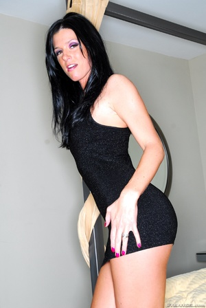 Dark haired vixen in black dress changes - XXX Dessert - Picture 1