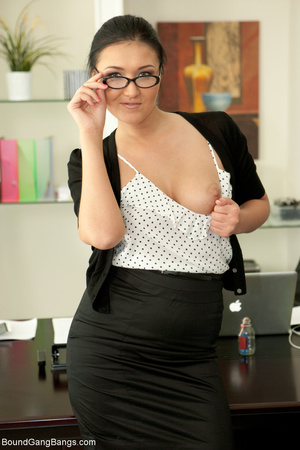 Chubby brunette bound and gag-balled bef - XXX Dessert - Picture 1