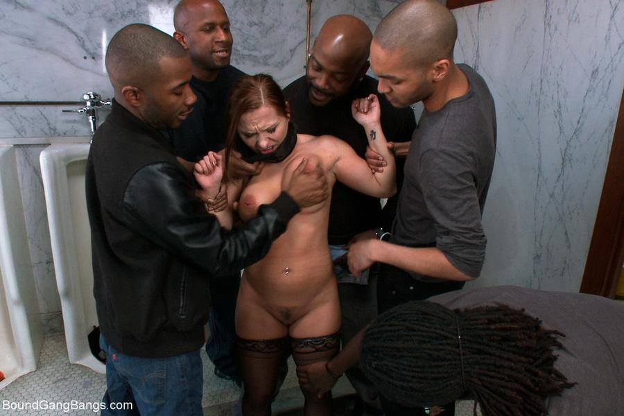 Black bondage gangbang