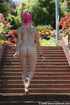 Nature lover bold pink hair lady goes nude…