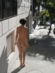 Naked woman in traffic