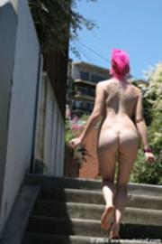 pink hair lady taking