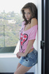 Lustful Malena fondling herself on the balcony
