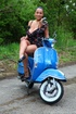 Playful danica outdoors romancing a motorcycle…