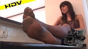 charming brunette stretches and