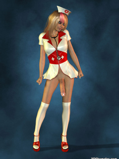 Sexy blond 3D shemale as a nurse - Cartoon Porn Pictures - Picture 7