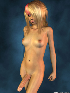 Completely nude blond 3D shemale with big cock - Cartoon Porn Pictures - Picture 1