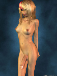Completely nude blond 3D shemale with big cock - Cartoon Porn Pictures - Picture 2