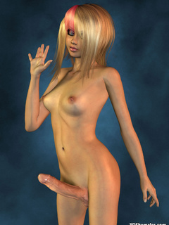Completely nude blond 3D shemale with big cock - Cartoon Porn Pictures - Picture 3
