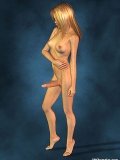 Completely nude blond 3D shemale with big cock - Cartoon Porn Pictures - Picture 4