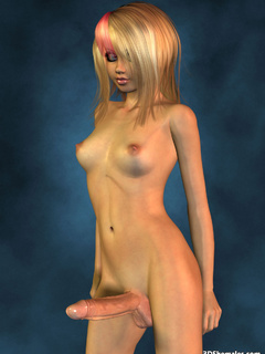 Completely nude blond 3D shemale with big cock - Cartoon Porn Pictures - Picture 5